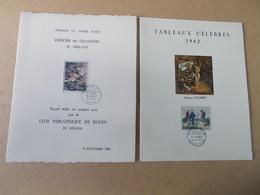 2 FEUILLET SOUVENIR ENCART FDC PJ PREMIER JOUR Tableaux 1962 Courbet Gericault Manet Rouen Paris Ornans - FDC
