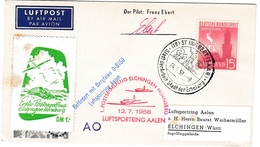 St Ingbert 1958 Saar - Carte Entier Ganzsache Stationary - Segelflug Elchingen Hornberg Mit Vignette  Luftsporting Aalen - 1957-59 Federation