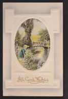 General Greetings - All Good Wishes Woman Picking Flowers - Used - Embossed - Greetings From...
