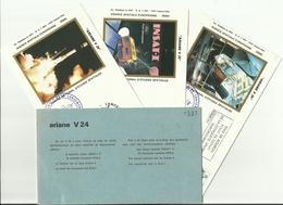 Lancement Fusée ARIANE V24 - 21/07/1988 - Pochette Lancement CNES - 4 Documents - CENTRE SPATIAL GUYANAIS - ESPACE - FDC & Gedenkmarken