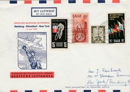 Saarbrucken 1955 Saar - Erstflug Hamburg Dusseldorf New York Lufthansa - Brieven En Documenten