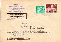 """(FC-9) DDR Dienstpost, Zustellungsurkunde, """"Kreisgericht Görlitz"""" MiF Mi 1881+2483 TSt 12.11.1982 GÖRLITZ 1 - Service"""