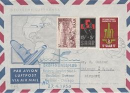 Saarbrucken 1956 Saar - Erstflug Hamburg Frankfurt Manchester Shannon Montreal Chicago - Brieven En Documenten