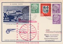 Merzig Saar 1958 - Erstflug Pan Am Nurnberg Berlin PAA - Postkarte - [7] Federal Republic
