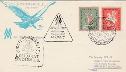 St Hobert Saar 1958 - Erstflug Budapest Bruxelles Via Leipzig - Brieven En Documenten