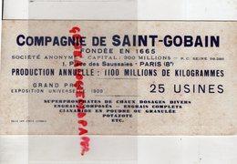 75- PARIS- BUVARD COMPAGNIE DE SAINT GOBAIN- 1 PLACE DES SAUSSAIES-25 USINES-GRAND PRIX EXPOSITION UNIVERSELLE 1900 - Buvards, Protège-cahiers Illustrés