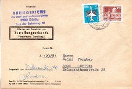"""(FC-9) DDR Dienstpost, Zustellungsurkunde, """"Kreisgericht Görlitz"""" MiF Mi 2602+2831 TSt 5.12.1983 GÖRLITZ 1 - Service"""