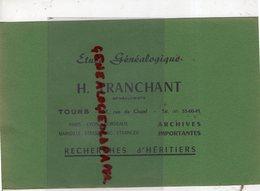 37 - TOURS -PARIS-LYON-MARSEILLE- BUVARD H. TRANCHANT- ETUDE GENEALOGIQUE-GENEALOGISTE-GENEALOGIE- 51 RUE DU CLUZEL- - Buvards, Protège-cahiers Illustrés