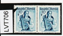 """LVT706 ÖSTERREICH 1948 Michl PLATTENFEHLER FARBFLECK Auf """"R"""" SIEHE ABBILDUNG - Abarten & Kuriositäten"""
