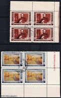 1950 :-: Cinquantenaire De La Mort De Peintre I.I.Levitan - 2 Blocs De 4 Oblitérés - - 1923-1991 USSR