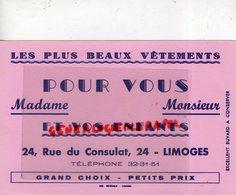 87- LIMOGES- RARE BUVARD LES PLUS BEAUX VETEMENTS 24 RUE DU CONSULAT- IMPRIMERIE GENERALE LIMOGES - Textile & Clothing