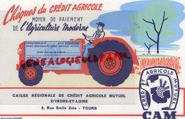 37 - TOURS - RARE BUVARD CREDIT AGRICOLE MUTUEL INDRE LOIRE-9 RUE EMILE ZOLA- BANQUE- CAM-AGRICULTURE TRACTEUR-EFGE - Banque & Assurance