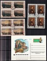1950 :-: Cinquantenaire De La Mort De Peintre Aivazovski - 3 Blocs De 4 Oblitérés + Carte Poste Pré Timbrée - - Used Stamps