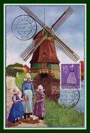 NEDERLAND Carte Maximum Œuvre De Bienfaisance 1958 (XX !) Yv. N° 689 Volendam Moulin  Dutch Costumes Folklore - Windmills