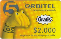 Colombia - CO-ORB-009,  Remote Memory, Fist In Yellow - Text Gratis, 2,000 $, 9/00, Mint - Colombia