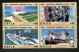 """CHILE ESTAMPILLAS 1989; CENTENARIO INGENIERÍA NAVAL:1889-1989"""". - Chile"""