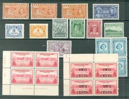 NEWFOUDLAND LOT Of 23 MNH Royals Dues Map Views Cod PL. BLK HAS 2 MLH Cat $57++ WYSIWYG A04s - Newfoundland