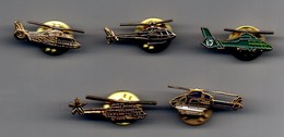 LOT DE 5 PIN'S HELICOPTERE - Airplanes