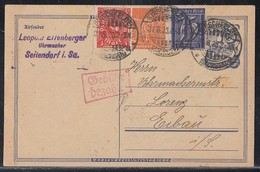 DR Ganzsache Teilfrankatur Minr.185,189,225 Hirschfelde 31.8.23 Geb. Bez. - Deutschland