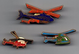 LOT DE 3 PIN'S HELICOPTERE - Airplanes