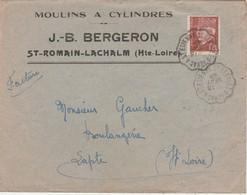 Enveloppe Commerciale 1942 / JB BERGERON / Moulins à Cylindres / 43 St Romain Lachalm / Cachet Ambulant - Maps