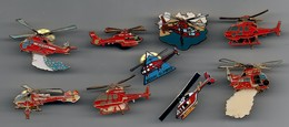 LOT DE 9 PIN'S HELICOPTERE POMPIER - Airplanes