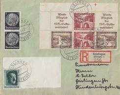 DR R-Brief Mif Minr.2x 512,646,Zdr. W112, W116 Geislingen 27.6.37 - Deutschland