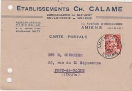 Carte Commerciale / Ets Ch; CALAME / Quincaillerie Du Bâtiment / 80 Amiens / Somme - Maps
