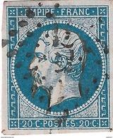 014. Timbre N°14 (pas D'amincis) - Couleur Bleu Sur Rose (Superbe) - 1853-1860 Napoleon III