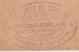 Carte Commerciale 1891 / Entier / THAUREAU Firmin / Fabrique De Chaises / 45 Orléans - Maps