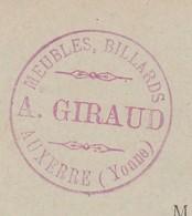 Carte Commerciale 1895 / Entier / A. GIRAUD / Meubles Billards / 89 Auxerre - Maps