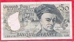 """50 Francs """"Quentin De La Tour"""" 1991 XF/SUP+----Série O.63---AUCUN TROU D EPINGLE - 1962-1997 ''Francs''"""