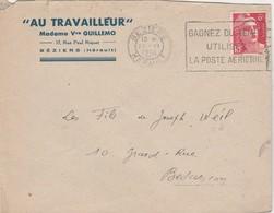 """Enveloppe Commerciale 1948 / Mme Vve GUILLEMO / """"Au Travailleur""""/ 34 Béziers / Flamme - Maps"""