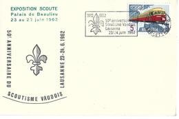 """VAUD PALAIS DE BEAULIEU Enveloppe Suisse Avec Rare Oblit Mécanique """"50e Anniv Scoutisme Vaudois Lausanne 1962"""" - Scoutisme"""