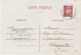 Carte Commerciale 1943 / AMELIN DUMAY / Clouterie / Entier Pétain 1F20 / Cachet Anglure 51 Marne - Maps