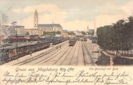 Magdeburg Elb-Bahnhof Mit Dom 1901 AKS - Magdeburg