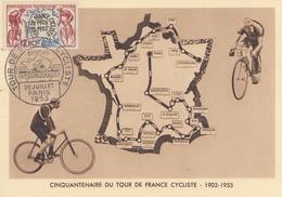 Carte  Maximum  1er  Jour    FRANCE    50éme  Anniversaire  Du   TOUR  DE  FRANCE   Cycliste   1953 - 1950-59