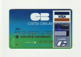 Societe Generale FRANCE Carte Bleue VISA Expired 1987 - Cartes De Crédit (expiration Min. 10 Ans)