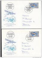 SCHWEIZ  780, 2 FDC, Gedenkflüge Bern-Locarno + Langenbruck-Locarno 13.VII.1963 - Premiers Vols