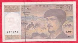 """20 Francs """"Debussy"""" 1997 Série F.64 (RARE) Petit Numéro 870652 (Manque Pointage Site KJACQUES) F/TTB+ - 1962-1997 ''Francs''"""