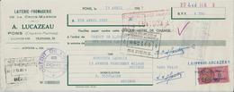 PONS A LUCAZEAU LAITERIE FROMAGERIE LA CROIX MARRON AVEC CACHET ET TIMBRE ANNEE 1957 A MR LACROIX ALIMENTATION BEZIERS - Non Classés