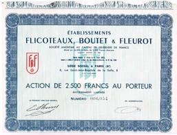 Action Ancienne - Etablissements Flicoteaux, Boutet & Fleurot - Titre De 1953 - - Industrie