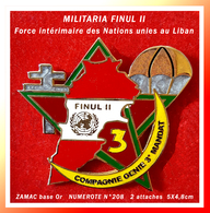 SUPER MAX PIN'S MILITARIA FINUL II LIBAN : COMPAGNIE Du GENIE 3em MANDAT Force Intermédiaire En ZAMAC Or NUMEROTE N°208 - Militaria