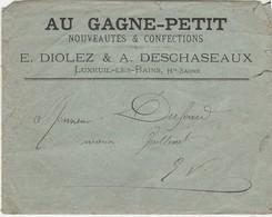 """Enveloppe Commerciale / DIOLEZ & DESCHASEAUX / """"Au Gagne-Petit"""" Confection / 70 Luxeuil Les Bains - Maps"""