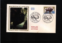 France / Frankreich 1974 Bison - Nature Protection FDC - Environment & Climate Protection