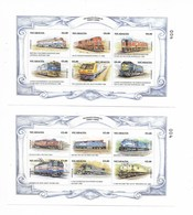NICARAGUA 1998, TRAINS, ZÜGE, RAILROADS, COMPLETE SET 2 MINIATURE SHEETS + 2 SOUVENIR SHEET + 4 VALUES SET - Nicaragua
