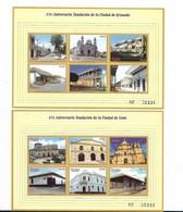 NICARAGUA 1999, GRANADA AND LEON FOUNDATION ANNIVERSARY, 2 SOUVENIR SHEETS SCOTT 2314-15, MICHEL 4092-4103 - Nicaragua