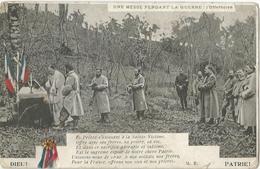 Carte Postale Soldats Français, Messe Pendant La Guerre: L'offertoire / Cocarde Bleu Blanc Rouge / 14-18 / WW1 / POILU - 1914-18