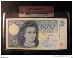 Estland Estonia 100 Krooni 1994 Banknote UNC In Official Bank Holder Of Estonian Bank BS000569 - Estonie