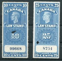 1938 Canada Law Stamp Revenues 10c & 25c - Steuermarken